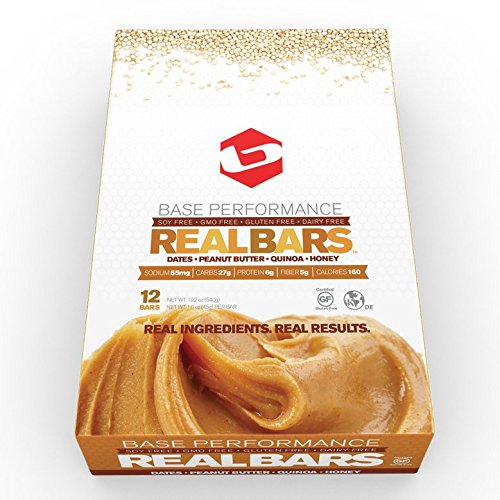 BASE Performance REAL BAR Box of 12 - Peanut Butter Flavor | Gluten Free, Soy Free, GMO Free, and Dairy Free - Contains Peanut Butter / Dates / Quinoa / - Dairy Rice Free