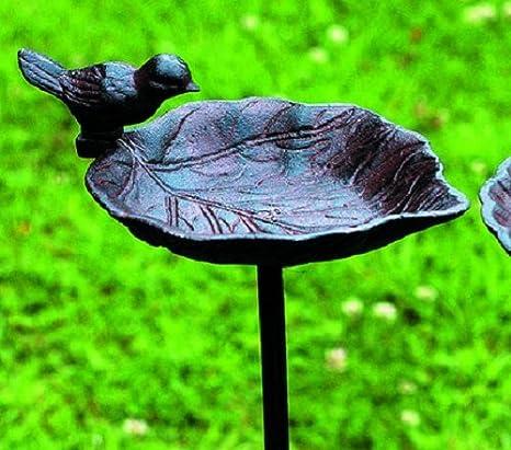 Bebedero para pájaros/Jardín Varilla, Pájaro sobre hoja, hierro fundido, marrón, variante a: Amazon.es: Productos para mascotas