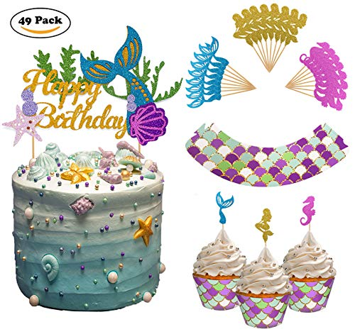 THAWAY Mermaid Cake Toppers Mermaid Birthday Party Supplies Decorations Cupcake Toppers(24pcs) Mermaid Cupcake Wrappers (24pcs) for Girls Boys Birthday Party Baby Shower
