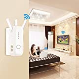 WiFi Router Wireless Range Extender AC750 Signal Booster Wireless-N Repeater High Speed Access Point Amplifier Network Adapter with 3 External Antennas Comply 802.11 ac/a/b/g/n(US Plug,WPS)