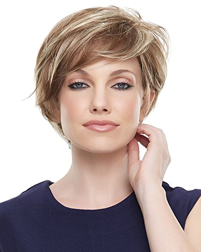 Mariska Wig Petite Cap Color FS6/30/27 TOFFEE TRUFFLE - Jon Renau Wigs Short Layered Sheer Lace Front Synthetic Monofilament Top Hand-Tied Cap