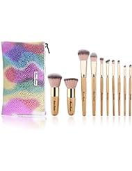 10 Pcs Makeup Brush Set Professional Bamboo Handle Make...