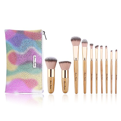 10 Pcs Makeup Brush Set Professional Bamboo Handle Make up Brush Foundation Powder Eyebrow Eyeshadow Eyebrow Concealer Lip Brushes Kits Cosmetic Tools With Colorful Artificial Leather (Scepter Bag)