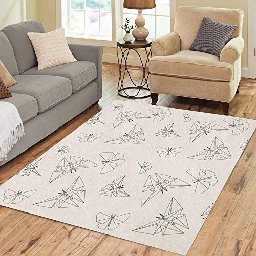 The Japanese Tradition Origami - Semtomn Area Rug 3' X 5' Geometric Thin Line Butterfly Origami Japanese Tradition Pattern Modern Home Decor Collection Floor Rugs Carpet for Living Room Bedroom Dining Room