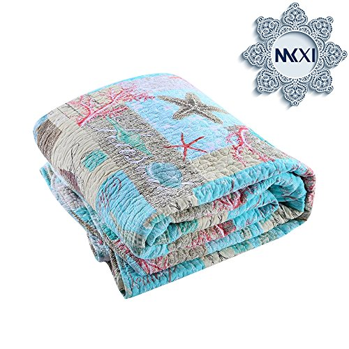MKXI Ocean Bedding Comforter Sets Twin Size(Including 1 Matching Pillowcases), Beach Themed Cotton Bedspread/Quilt/Blanket