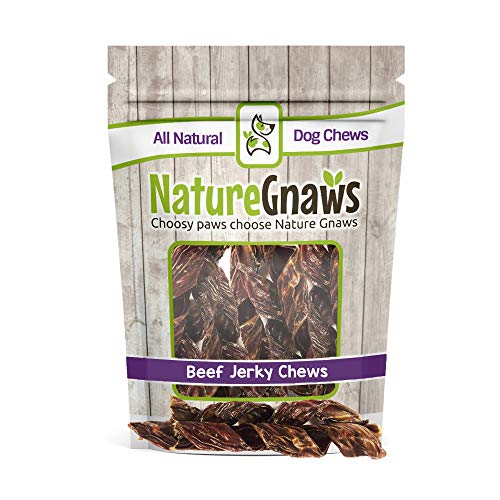 Nature Gnaws Beef Jerky Springs 7-8 (12 Pack) - 100% All-Natural Grass-Fed Free-Range Premium Beef Dog Chews