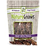 "Nature Gnaws Beef Jerky Springs 7-8"" (12 Pack) - 100% All-Natural Grass-Fed Free-Range Premium Beef Dog Chews"