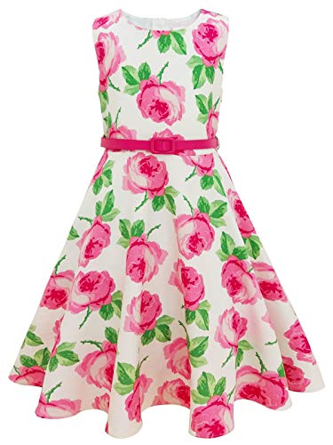 Bonny Billy Girls Sleeveless Vintage Floral Swing Party Dress Size 7-8 Yrs Pink ()