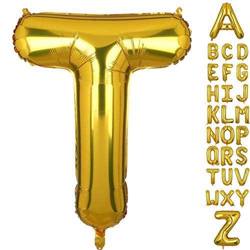 40 Inch Large Gold Letter T Foil Balloons Hellium Golden Big Alphabet Mylar Balloon for Birthday Party Decoration Custom Word]()
