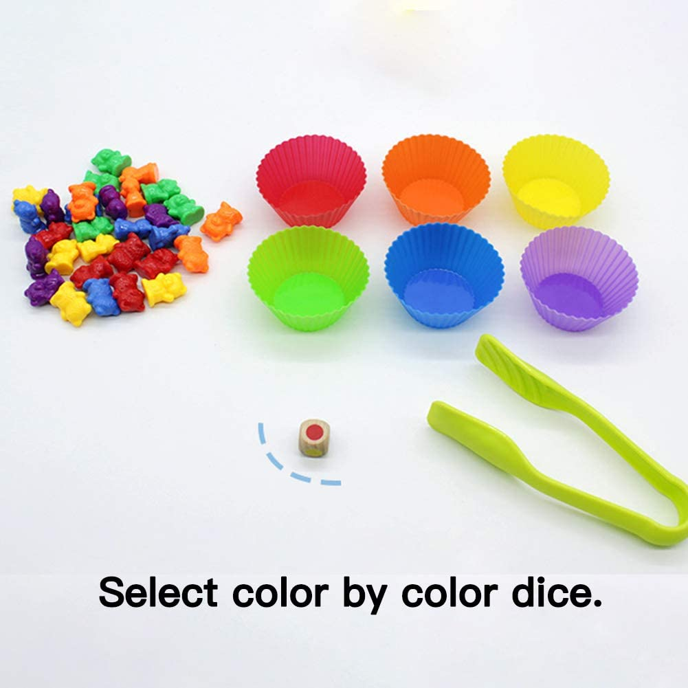 120pcs Rainbow Counting Bears Colorful Plastic Counting Sorting Bears Toy