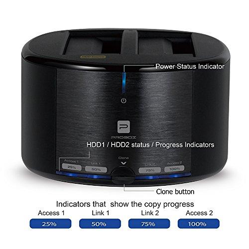"Mediasonic HUD1-SU3 USB 3.0 2 Bay 2.5"" / 3.5"" SATA SSD / HDD Hard Drive Docking Station w/ Clone Function – Certified Refurbished (2 Bay)"