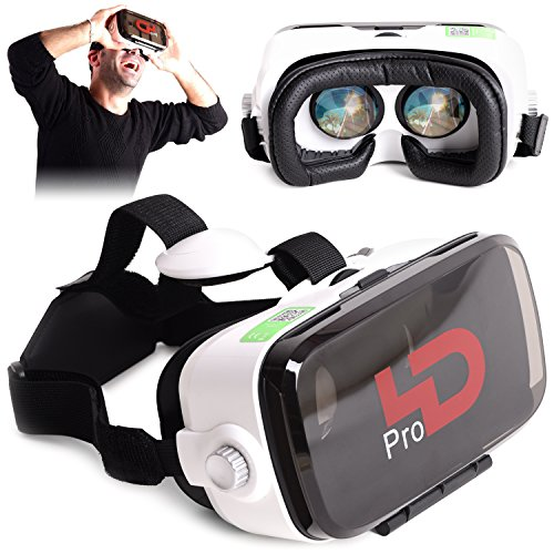 Virtual Reality Headset by 4Dimensions - 360 Degrees Gaming Experience - Supports 3D Movies and Games - Compatible with iPhone Android LG and Windows Smartphones (PRO Black)