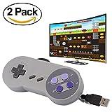 ZYOU 2pcs SNES Retro USB Controllers Nintendo Super NES Game Controller Gamepad Joystick for Windows PC / MAC / Raspberry Pi