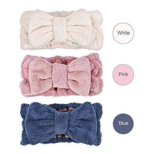 Spa Headband Makeup Headbands for Women - Face Washing Microfiber Hair Towel - Makeup Headband for Girls (Pack of 3, White Blue Pink)