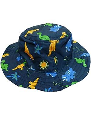 ABG Infant Boys Navy Blue Dinosaur Floppy Sun Hat Bucket Cap