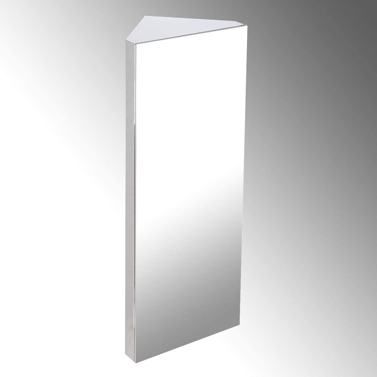Renovators Supply Manufacturing Large Wall Mount Corner Medicine Cabinet Brushed Stainless Steel 31 1 2 Height 12 Width