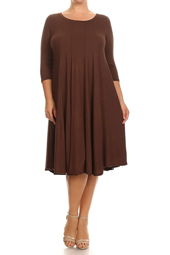 Modern Kiwi Women's Plus Size Long Sleeve Flowy Maxi Dress (1X-4X) DSR-4089