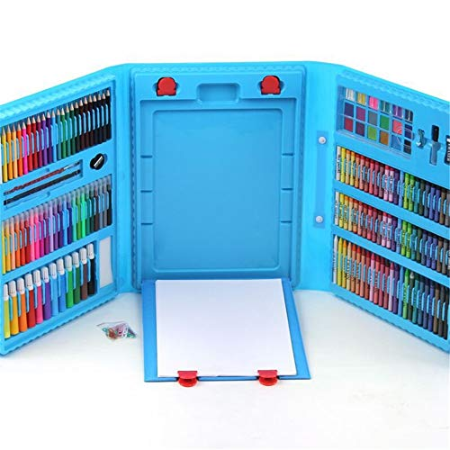 JIANGXIUQIN Artist Art Drawing Set, Art Case with Easel 208 Pieces of Luxury Kit for Coloring, Art, Drawing, Calligraphy, Comics. Gifts for Children and Children. (Color : Blue) by JIANGXIUQIN (Image #1)