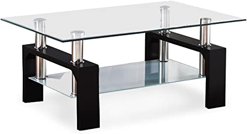 Mecor Rectangle Glass Coffee Table-Modern Side Coffee Table