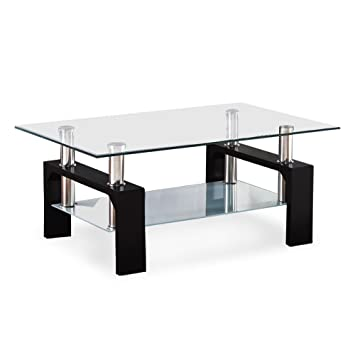 VIRREA Rectangular Glass Coffee Table Shelf Wood Living Room Furniture  Chrome Base Black