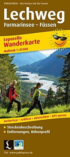 Lechweg, Formarinsee - Füssen: Wanderkarte Leporello mit Streckenbeschreibung, Entfernungen, Höhenprofil wetterfest, reißfest, abwischbar, GPS-genau. 1:25000 (Leporello Wanderkarte / LEP-WK)