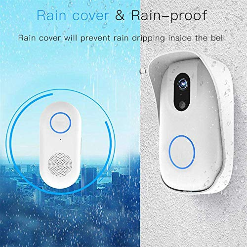 MIYA LTD WiFi Waterproof Video Doorbell,Smart Doorbell HD Home Security Camera with Cloud Storage, Real Time Two-Way Audio Smart HD Camera Viewer Intercom App Control Doorbell for iOS and Android