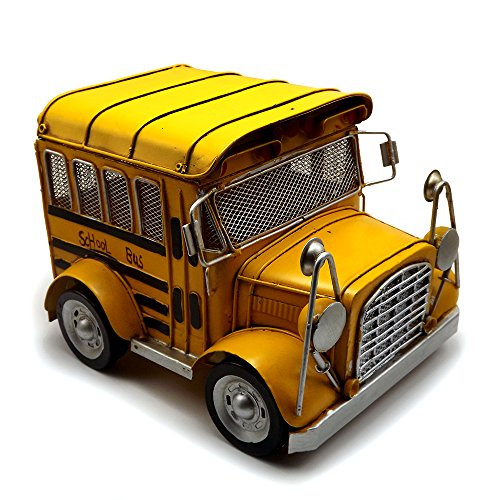 Tipmant Metal Vintage Car Model Toy School Bus Vehicle Home Décor Decoration Ornaments Handmade Handcrafted Collections Collectibles Kids Gift