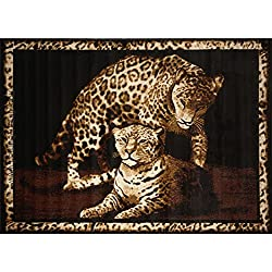 D&H 1 Piece 3'7 x 5'2ft Brown Tan Leopard Themed Area Rug, Wild Animal Safari Pattern African Carpet Living Room Zoo Jungle Inspired, Exotic Cat Cub Bordered Dark Rectangle Shaped, Indoor Ivory