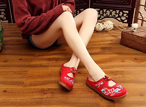 Schuhe Rot Blumen SK Weiche Atmungsaktiv Hausschuh Handgefertigte Espadrilles Studio Bunt Damen wCCqxFzgv