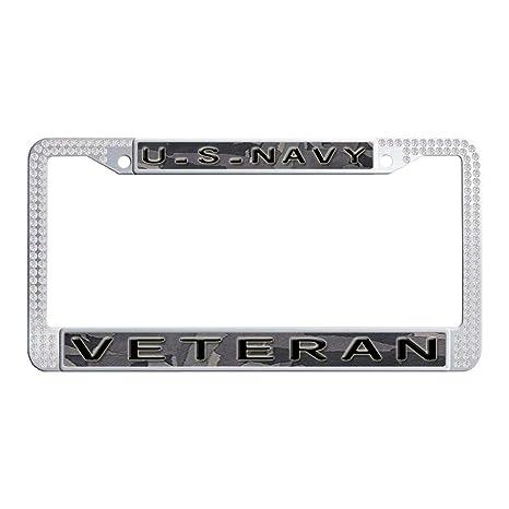 Black Diamond Bling Glitter Crystal Rhinestone Metal US Car License Plate Frame