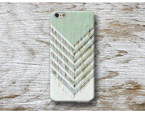 Funda Madera Print Chevron verde para iPhone 4 5 5s SE 6 6s 7 Plus Samsung Galaxy s8 s7 s6 s5 A5 A3 J5... Huawei LG Moto Oneplus Sony HTC ....