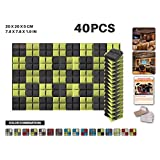 Ace Punch 40 Pack 2 Colors Hemisphere Grid Acoustic Foam Panel DIY Design Studio Soundproofing Wall Tiles Sound Insulation with Free Mounting Tabs Black and Yellow 20 x 20 x 5 cm AP1040