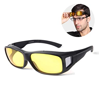 ea743fd6a897 Image Unavailable. Image not available for. Color  Night Vision Glasses  Polarized Wrap Around Prescription Eyewear ...