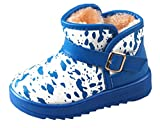 Cattior Toddler Little Kid Buckle Warm Winter Snow Boots Kids Leather Boots (13.5 M, Blue)