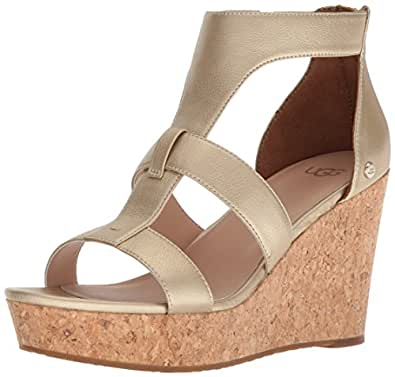 Ugg Womens Whitney Metallic Wedge Sandal Amazon Ca Shoes