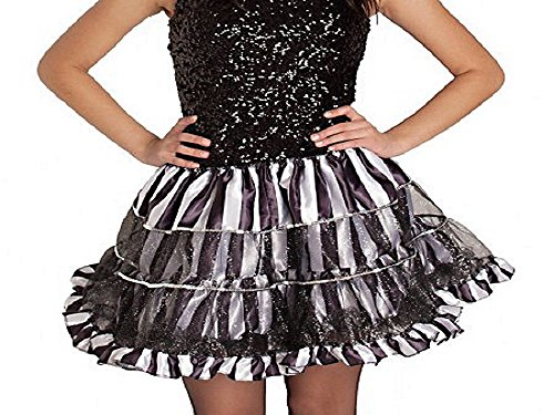 Silver, Black and White Striped Shimmering Adult Tutu