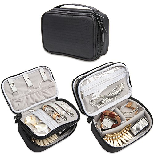 Teamoy Jewelry Travel Case, Jewelry & Accessories Holder Organizer for Necklace, Earrings, Rings, Watch and More, Roomy, Compact and Portable, Black - Necklace Jewelry Holder