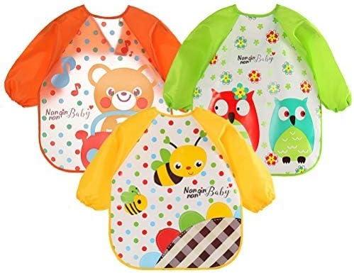 Siming 3 Pack Baby L/ätzchen//Sch/ürze mit /Ärmeln,Unisex Wasserdicht Malsch/ürze//Bastelsch/ürze