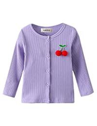 stylesilove Toddler Girl Cherry Applique Lightweight Cotton Ribbed Cardigan