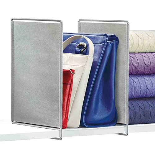 Lynk Vela Shelf Dividers - Closet Shelf Organizer - Platinum (Closet Shelf Organizer Shelf Dividers)