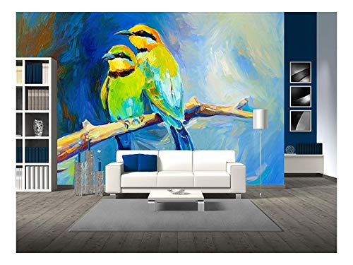 wall26 - Original Oil Painting of Blue Tailed Bee Eaters, Song Birds on Canvas.Modern Impressionism - Removable Wall Mural   Self-Adhesive Large Wallpaper - 100x144 inches ()