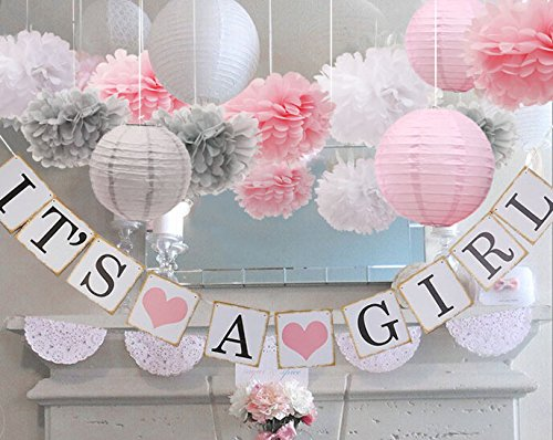 baby girl baby shower decorations, It is a Girl Banners and Paper Lantern Paper Flower Pom Poms (Pink White (Baby Shower Decoration For Girls)