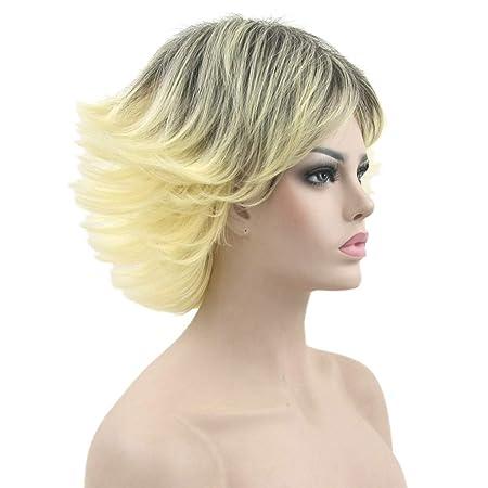 Peluca Peluca, 30cm Pelo Rizado Corto Sintético Natural Para Mujer Color Dorado Gradiente Negro Resistente Al Calor Lady Cosplay Party Pelucas: Amazon.es: ...