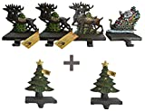 Lulu Decor, Cast Iron Santa Claus & 3 Reindeers Stocking holder Plus 2 Trees 8 inches (CODT8)
