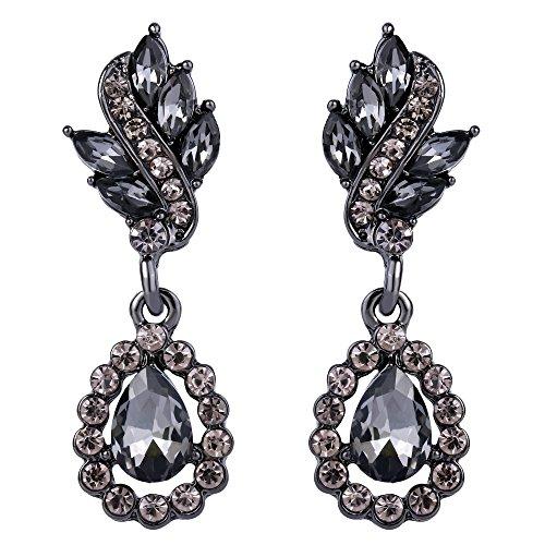 Art Deco Drop - EleQueen Women's Austrian Crystal Art Deco Tear Drop Earrings Black-tone Black Pierced