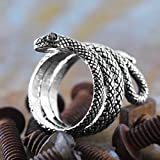 Carpe Diem Jewelry 925 Sterling Silver Snake Ring for Men Black Diamond Eyes Engraved Rings