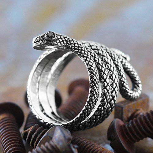 Carpe Diem Jewelry 925 Sterling Silver Snake Ring for Men Black Diamond Eyes Engraved Rings by Carpe Diem Jewellery