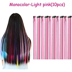 Urqueen 10 PCS Colored Clip in Hair Extensions 22 Inches Multi-Color Straight Fashion Hairpieces for Party Highlights (Light Pink)