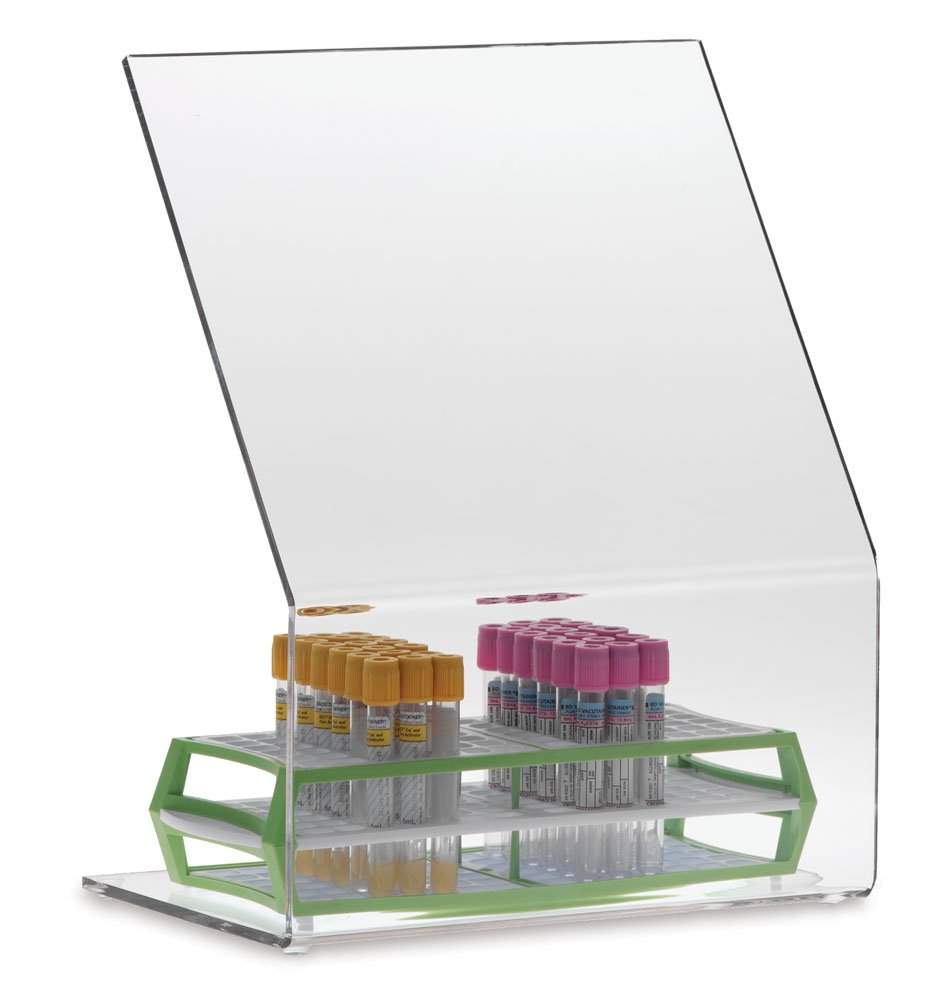 Small MarketLab Inc. Clearform ML5100 Clear Acrylic Biohazard Shield with Skid Resistant Rubber Feet