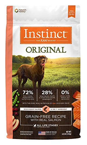Instinct Original Grain Free Recipe with Real Salmon Natural Dry Dog Food by Nature's Variety, 4 lb. Bag